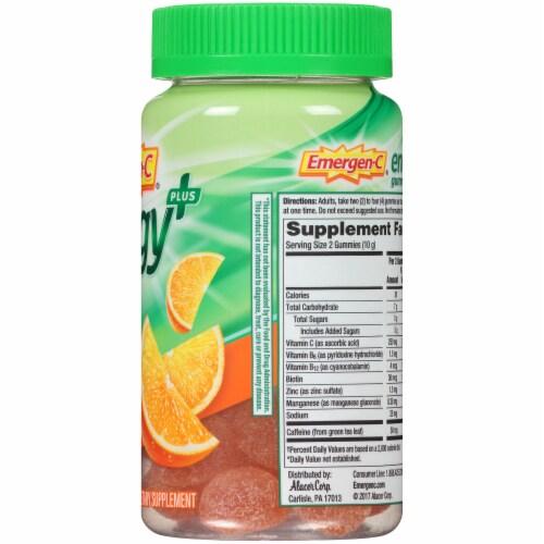 Emergen-C Energy Plus Orange Zest Natural Caffeine Dietary Supplement Gummies Perspective: right