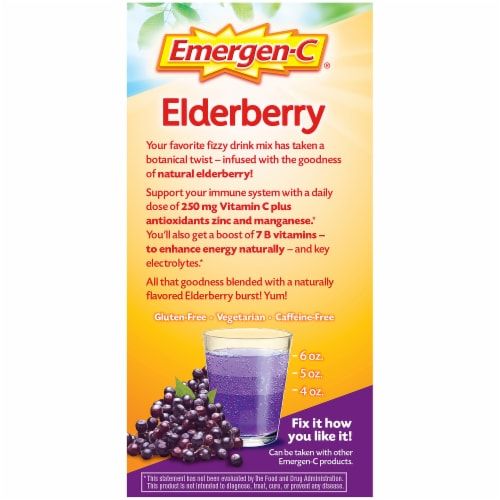 Emergen-C Elderberry Daily Immune Support Dietary Supplement Fizzy Drink Mix Packets 18 Count Perspective: right