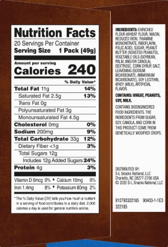 Lance Nekot Real Peanut Butter Cookie Sandwiches 20 Count Perspective: right
