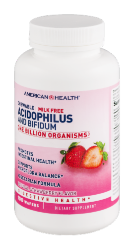 American Health Strawberry Acidophilus and Bifidum Chewables Perspective: right