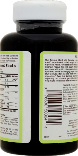 American Health Chewable Papaya Enzyme with Chlorophyll Digestive Health Formula Perspective: right