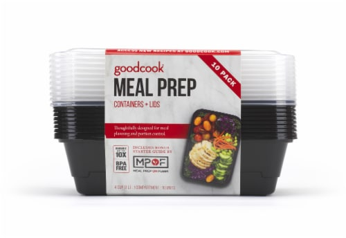 GoodCook® Meal Prep Food Storage Containers - 10 Pack - Black/Clear Perspective: right