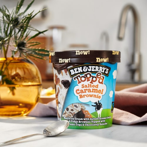 Ben & Jerry's Topped Salted Caramel Brownie Ice Cream Perspective: right