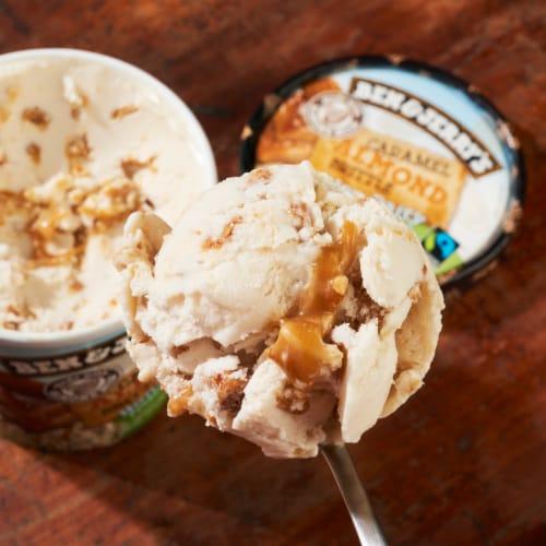 Ben & Jerry's Vegan Non-Dairy Frozen Dessert Caramel Almond Brittle Perspective: right