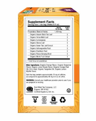 Yogi Sweet Tangerine Positive Energy Tea Bags 16 Count Perspective: right