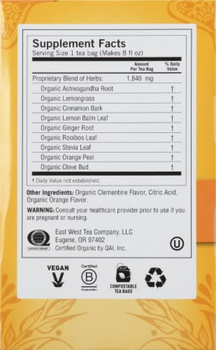 Yogi Sweet Clementine Stress Support Caffeine Free Tea Bags Perspective: right