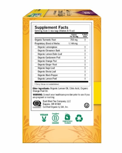 Yogi Sweet Ginger Citrus Turmeri Vitality Tea Perspective: right