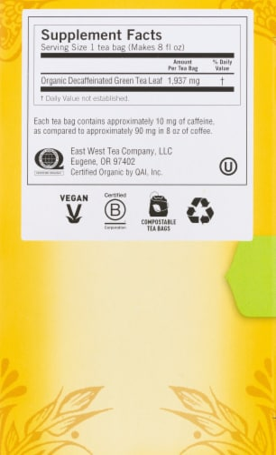 Yogi Pure Green Decaffeinated Tea Bags Perspective: right