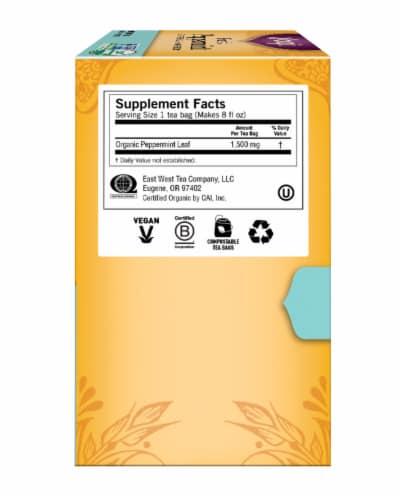 Yogi Organic Purely Peppermint Caffeine Free Tea Bags Perspective: right