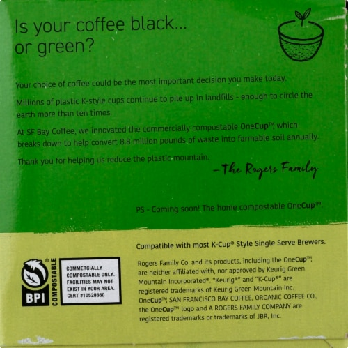 San Francisco Bay Organic Rainforest Blend Coffee OneCups Perspective: right