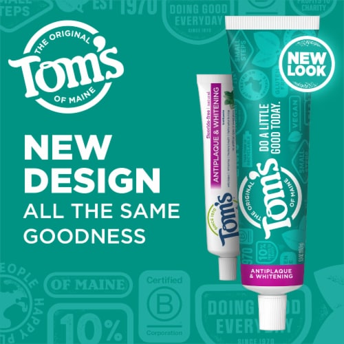 Tom's of Maine Antiplaque & Whitening Peppermint Fluoride Free Toothpaste Perspective: right