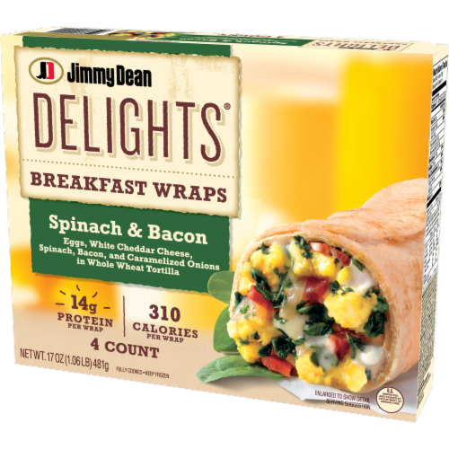 Jimmy Dean Delights Spinach & Bacon Breakfast Wraps Perspective: right