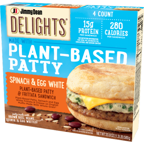 Jimmy Dean Delights® Spinach & Egg White Plant Based Patty & Frittata Sandwich Perspective: right