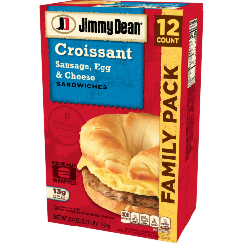Jimmy Dean Sausage Egg & Cheese Croissant Sandwiches Perspective: right