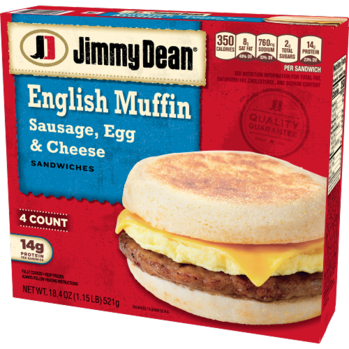 Jimmy Dean Sausage Egg & Cheese English Muffin Sandwiches Perspective: right