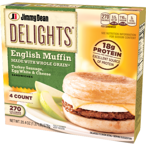 Jimmy Dean Delights Turkey Sausage Egg White & Cheese English Muffin Sandwiches Perspective: right