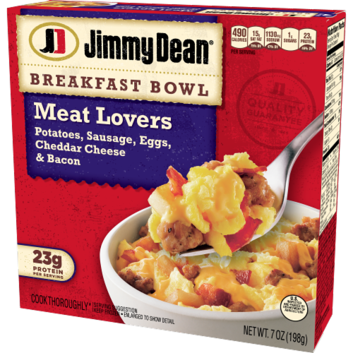Jimmy Dean Meat Lovers Breakfast Bowl Frozen Meal Perspective: right