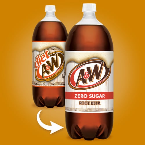 A&W Root Beer Zero Sugar Soda Perspective: right