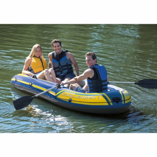 Intex 68370EP Challenger 3 Inflatable Raft Boat Set With Pump And Oars, Blue Perspective: right