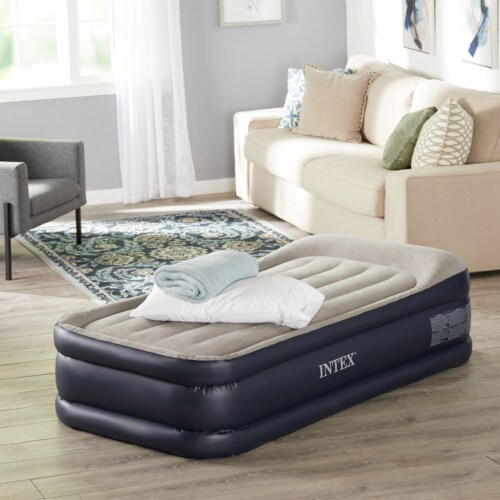 Intex Dura Beam Standard Deluxe Pillow Rest Raised Airbed w/ Built in Pump, Twin Perspective: right