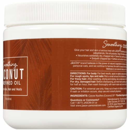 Jason Smoothing Unrefined Coconut Oil Perspective: right
