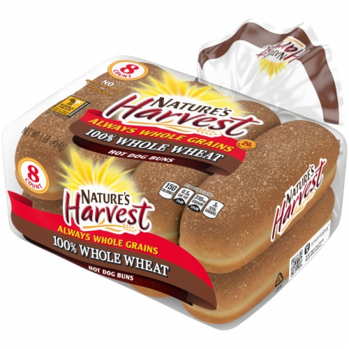 Nature's Harvest Whole Wheat Hot Dog Buns 8 Count Perspective: right