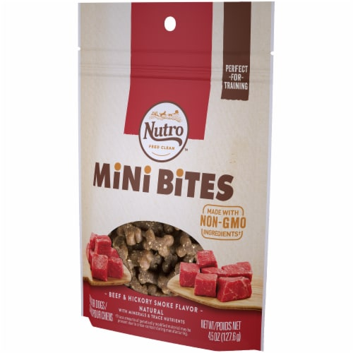 Nutro Beef & Hickory Smoke Flavored Mini Bites Dog Treats Perspective: right