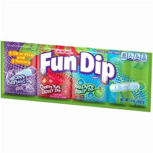 Fun Dip Lik-a-Stix Three Flavor Dip Candy Perspective: right