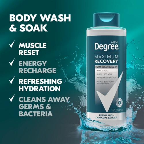 Degree Men Maximum Recovery Charcoal Extract Body Wash Shower Gel & Bath Soak Perspective: right
