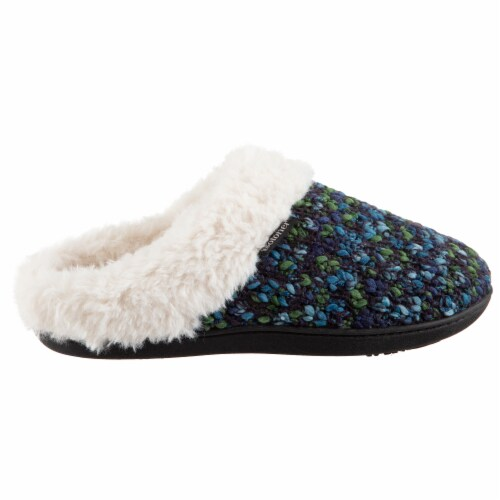 Isotoner® Women's Sweater  Knit Amanda Hoodback Slippers - Navy Blue Perspective: right