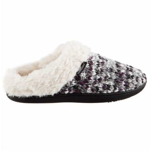 Isotoner® Women's Sweater Knit Amanda Hoodback Slippers - Heather Gray Perspective: right