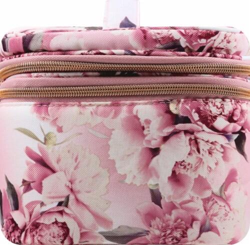 Sophia Joy Floral Double Zip Train Case Makeup Bag Perspective: right