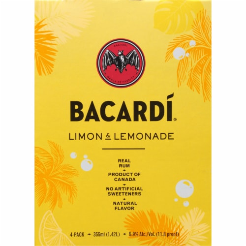 Bacardi Limon & Lemonade Real Rum Cocktails Perspective: right