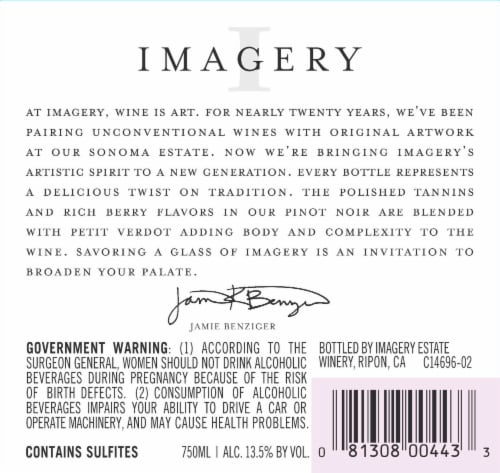 Imagery Pinot Noir Red Wine Perspective: right