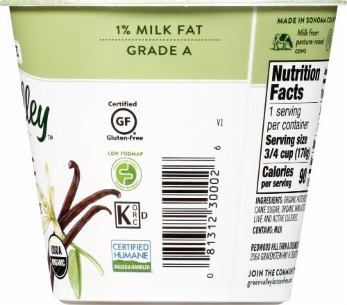 Green Valley Organic Lactose Free Vanilla Lowfat Yogurt Perspective: right
