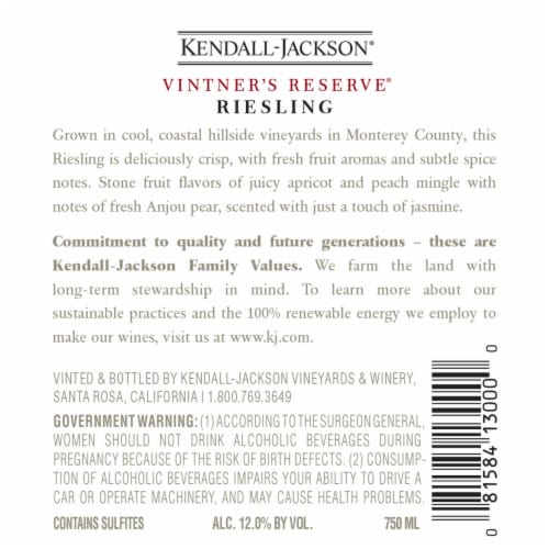 Kendall-Jackson Vintner's Reserve Riesling White Wine Perspective: right