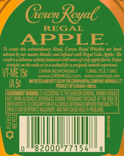 Crown Royal Regal Apple Flavored Whisky Perspective: right