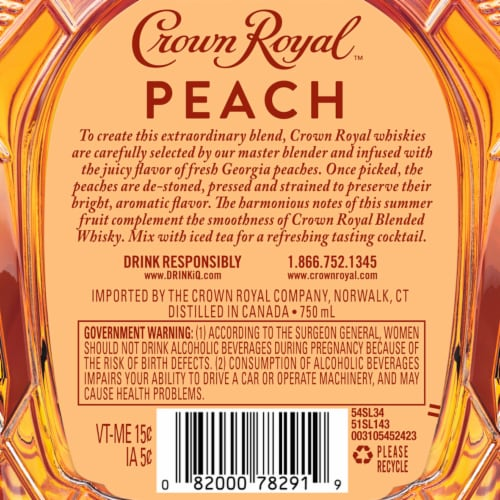 Crown Royal Limited Edition Peach Flavored Whisky Perspective: right