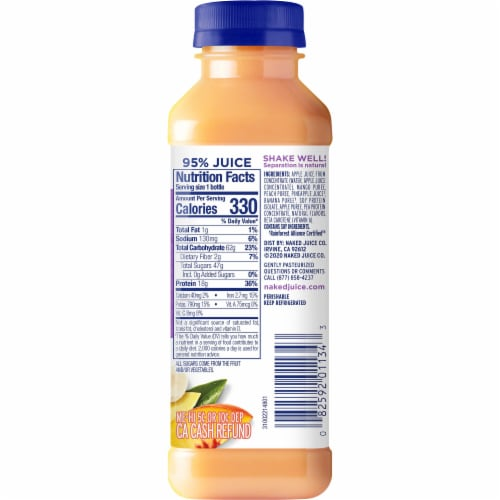 Naked Juice Plant Protein Peach Mango Fruit Juice Smoothie Perspective: right