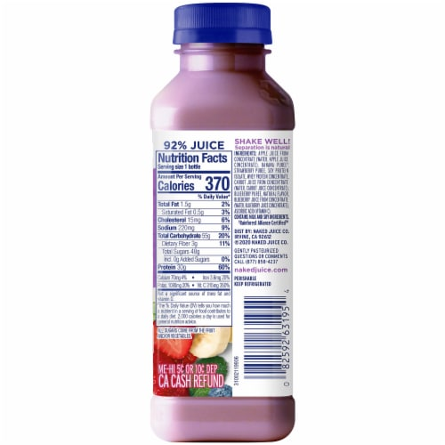 Naked Juice Double Berry No Sugar Added Protein Juice Smoothie Perspective: right