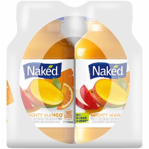 Naked Juice 100% Juice Fruit Smoothie Mighty Mango 4 Count Perspective: right
