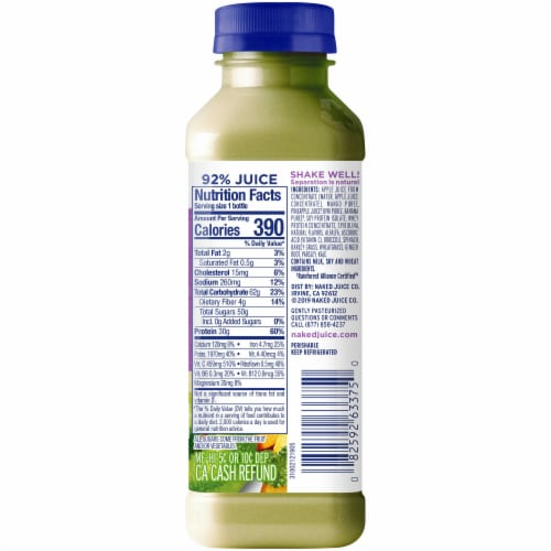Naked Juice Protein & Greens No Sugar Added Juice Smoothie Drink Perspective: right