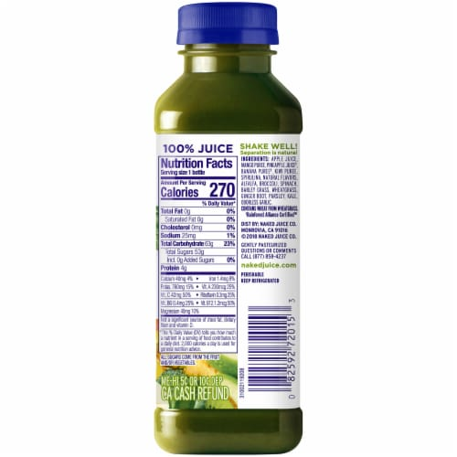 Naked Juice Green Machine No Sugar Added 100% Juice Smoothie Drink Perspective: right