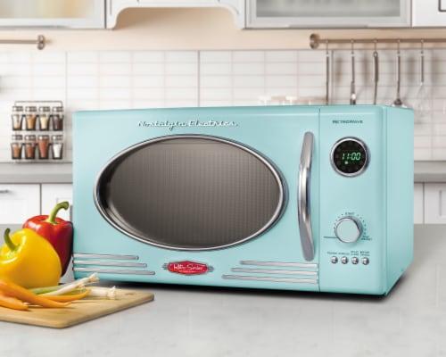 Nostalgia Retro 800-Watt Countertop Microwave Oven - Aqua Perspective: right