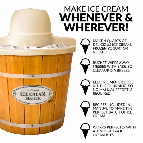 Nostalgia 4 Quart Electric Wood Bucket Ice Cream Maker Perspective: right