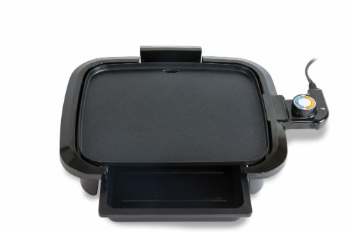 HomeCraft Non-Stick Griddle With Warming Drawer - Black Perspective: right