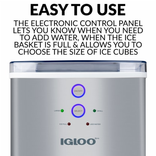 Igloo 33-Pound Stainless Steel Automatic Portable Countertop Ice Maker Machine - Silver Perspective: right