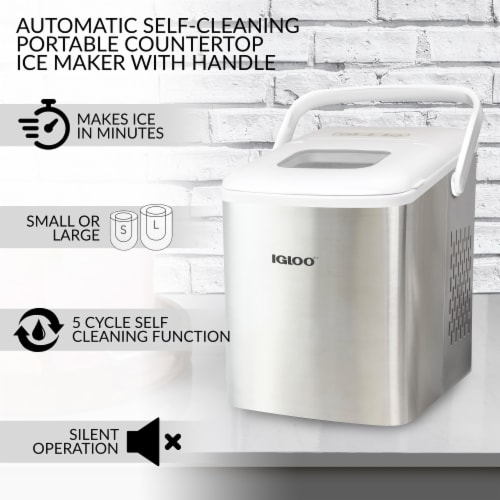 Igloo 26-Pound Stainless Steel Portable Countertop Ice Maker Machine With Handle - Silver/White Perspective: right