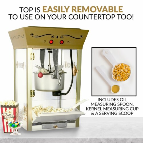 Nostalgia Candy & Snack Dispensing Popcorn Cart - Ivory Perspective: right