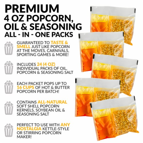 Nostalgia Premium Popcorn, Oil, and Seasoning Salt All-in-One Packs - 24 Pack Perspective: right